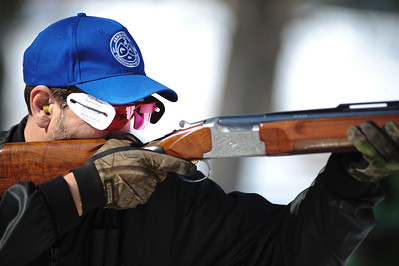 "Daniel J. Murphy - dmurphy@shawmedia.com  Tom Kraus of Johnsburg shoots a clay pigeon Sunday afternoon at the McHenry Sportsmen's Club February 26, 2012 in Johnsburg. The club  invited shooters from clubs across the area to compete ""Jackrabbit"" competition."