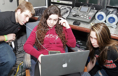 H. Rick Bamman - hbamman@shawmedia.com Barrington High School BHTV class video editors from left junior Chris Tessarolo, sophomore Faley Goyette (cq) and freshman Laura Aguiniga work on a class project. 10 students created a video as part of a MOXIE contest judged by Rihanna. The video won, and as their reward, Rihanna is nscheduled to visit the school in March.