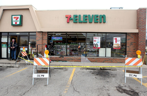 Sandy Bressner - sbressner@shawmedia.com<br /> There were no injuries reported after a car broke through the glass at the 7-Eleven located 1705 W. Main Street in St. Charles Tuesday morning.
