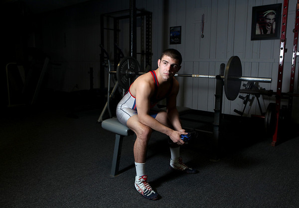 "Sandy Bressner - sbressner@shawmedia.com<br /> Marmion Academy's Angelo Silvestro, pictured at ""The Barn"" near Campton Hills, is the Kane County Chronicle's Wrestler of the Year."