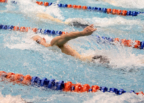 Sandy Bressner - sbressner@shawmedia.com<br /> Chris Dieter of St. Charles North swims the 200-yard freestyle during the IHSA Boys State Meet preliminaries at Evanston Township High School Friday.