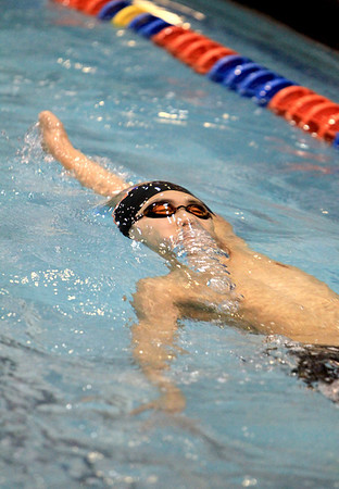 Sandy Bressner - sbressner@shawmedia.com<br /> Kei Ishimaru of DeKalb swims the 200-yard individual medley during the IHSA Boys State Meet preliminaries at Evanston Township High School Friday.