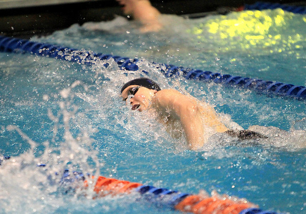 Sandy Bressner - sbressner@shawmedia.com<br /> Mundelein's Connor Black competes in the 100-yard freestyle during the IHSA Boys State Meet preliminaries at Evanston Township High School Friday.