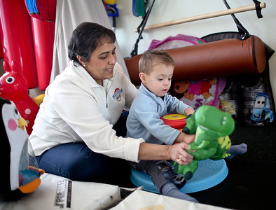 Josh Peckler - Jpeckler@shawmedia.com Occupational therapist Sakina Kapadia works with Aaron Miller, 3 during a therapy session at Milestones Therapy in Crystal Lake.