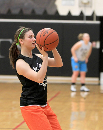 Sandy Bressner - sbressner@shawmedia.com<br /> Kaneland's Lauren Zick shoots the ball during practice Wednesday afternoon.
