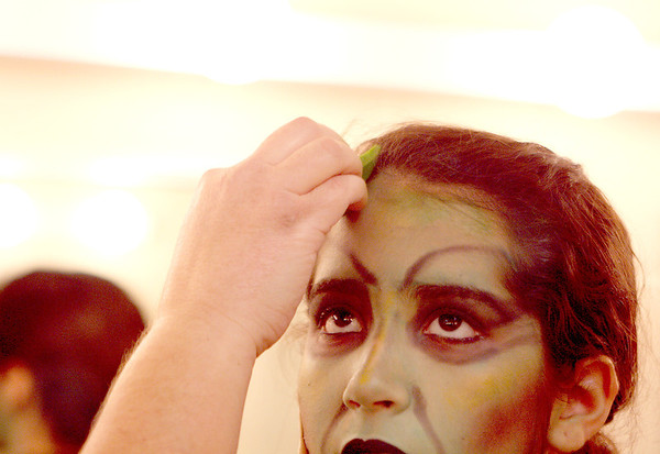 Sandy Bressner - sbressner@shawmedia.com<br /> Jessica Blakely, 14, of St. Charles has her makeup done for her role as the Wicked Witch for a production of The Wizard of Oz at the Batavia Fine Arts Centre. Performances run Feb. 10-12.