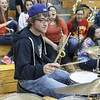 Batavia Pep Band Drummer Ethan Mole performs during half time at Batavia High School in Batavia, IL on Saturday, February 02, 2013 (Sean King for The Kane County Chronicle)