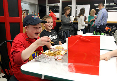Monica Maschak - mmaschak@shawmedia.com Michael Masters, 11, laughs with his friend Ashten Morson, 11, at a party for Masters held at Dante's in Algonquin on Monday, February 4, 2013. Masters was diagnosed with Loupus on November 1, 2012. In April, Make-A-Wish foundation will be granting his wish and installing a large hot tub at his family's home. In the meantime, Make-A-Wish wanted to do something additional for Michael by throwing him a party at his favorite restaurant.