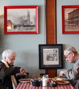 Sarah Nader - snader@shawmedia.com Pat Callahan (left) of Johnsburg and her husband, Tom, enjoy breakfast at Little Chef in McHenry on Friday, February 8, 2013. The Callahan's have been eating at the restaurant since it opened 43 years ago.