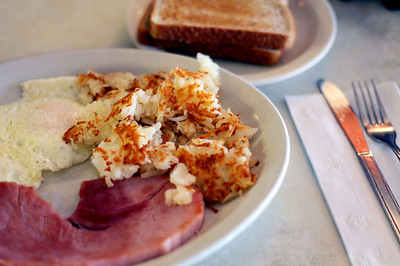 Sarah Nader - snader@shawmedia.com A popular dish at Little Chef in McHenry is ham and eggs served with toast and hash browns.