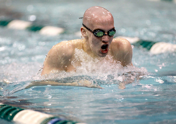 Will Shanel of St. Charles East swims the 200-yard individual medley during the IHSA Boys Swimming and Diving preliminaries Friday at New Trier High School.