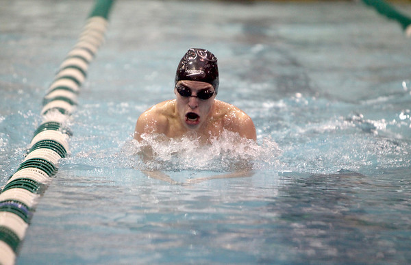 Ryan Schultz of the DeKalb co-op team swims the 100-yard breaststroke during the IHSA Boys Swimming and Diving preliminaries Friday at New Trier High School.