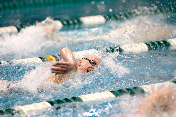 Kyle Gannon of St. North swims the 500-yard freestyle during the IHSA Boys Swimming and Diving preliminaries Friday at New Trier High School.