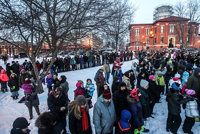 Sarah Nader- snader@shawmedia.com Hundreds gathered on the Woodstock Square for the Groundhog Day Prognostication February 2, 2014. Woodstock Willie prognosticated six more weeks of winter after seeing his shadow.