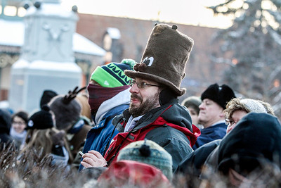 Sarah Nader- snader@shawmedia.com Wearing a groundhog hat. Deron Ponn of Columbus Ohio gathered on the Woodstock Square for the Groundhog Day Prognostication February 2, 2014. Ponn attended the Groundhog Day festivities in Punxsutawney last year but was disappointed he couldn't see anything of the movie locations.