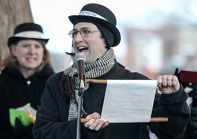 "Sarah Nader- snader@shawmedia.com Screenwriter for the movie ""Groundhog Day"", Danny Rubin, reads the Groundhog Day proclamation on the Woodstock Square on Sunday, February 2, 2014."