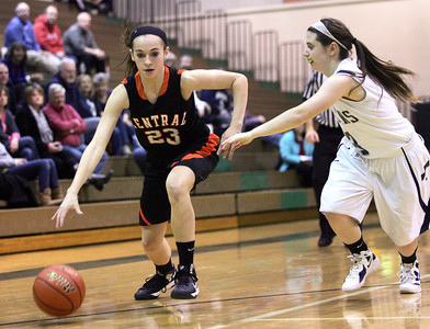 Monica Maschak - mmaschak@shawmedia.com Maddy Lerum dribble down the court in the second round of the IHSA Regional Playoffs at Crystal Lake South on Wednesday, February 13, 2013. Cary-Grove won 47-24.