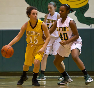 Brett Moist/ For the Northwest Herald Jacob's Payton Berg (15) drives past Crystal Lake South's Kianna Clark (40) during the 3rd quarter of gameplay at Crystal Lake South on Tuesday. Crystal Lake South defeated Jacobs 54-44.