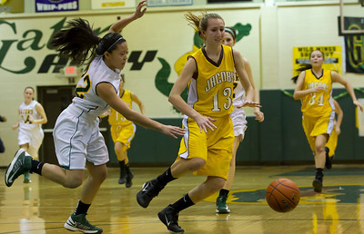 Jacobs Victoria Tamburrino (13) drives past Crystal Lake South's Gaby De Jesus (22) during the second quarter of gameplay at Crystal Lake South on Friday. Crystal Lake South defeated Jacobs 54-44.