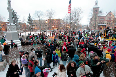 Sarah Nader - snader@shawmedia.com A large crowd gathers on the Woodstock Square Saturday morning for the Groundhog Day Prognostication February 2, 2013. To the delight of most in attendance, Willie prognosticated an early spring.