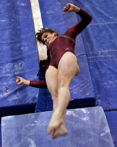 Sarah Nader - snader@shawmedia.com Prairie Ridge Coop's Rachael Underwood competes in balance beam during Monday's IHSA Gymnastics Sectional at Fremd High School on February 4, 2013.