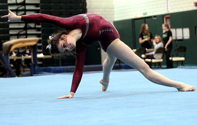 Sarah Nader - snader@shawmedia.com Prairie Ridge Coop's Rachael Underwood competes in floor exercise during Monday's IHSA Gymnastics Sectional at Fremd High School on February 4, 2013.