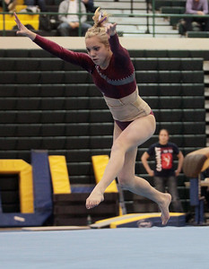 Sarah Nader - snader@shawmedia.com Prairie Ridge Coop's Maddie Solka competes in floor exercise during Monday's IHSA Gymnastics Sectional at Fremd High School on February 4, 2013.