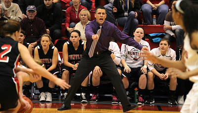 H. Rick Bamman - hbamman@shawmedia.com Huntley's head coach Steve Raethz directs his players in the second quarter against Wheaton Warrenville South in the Class 4A Dundee-Crown Supersectional. The Huntley girls basketball team beat Wheaton Warrenville South, 47-43, on Monday to reach the state finals for the first time.