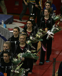 H. Rick Bamman - hbamman@shawmedia.com Prairie Ridge gymnasts in the parade of competitors at the Illinois Gymnastics State Finals held at Palatine High School.