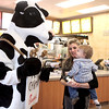Kathryn Egly of North Aurora and her son, Paul, 1, visit with the Chick-fil-A mascot on the opening morning of the new restaurant location in Batavia Thursday.(Sandy Bressner photo)