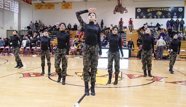 The Batavia High School Dance team performs during half time at Batavia HighSchool in Batavia, IL on Saturday, February 02, 2013 (Sean King for The Kane County Chronicle)