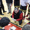 Batavia's head coach Jim Nazos talks to his team during a time out against De La Salles' at Batavia HighSchool in Batavia, IL on Saturday, February 02, 2013 (Sean King for The Kane County Chronicle)