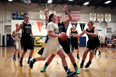 Kyle Grillot - kgrillot@shawmedia.com  Johnsburg senior Amy Majercik goes to put up a shot during the second quarter of the girls basketball game Monday in Johnsburg. Johnsburg beat Woodstock North, 51-33.