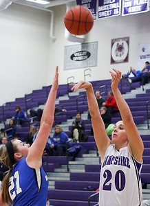 Sarah Nader- snader@shawmedia.com Woodstock's Gabby Scolio (left) guards Hampshire's Peyton DeChant while she shoots during the third quarter of Wednesday's game in Hampshire February 5, 2014. Hampshire defeated Woodstock, 58-36.