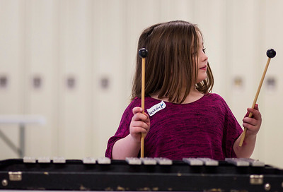 Kyle Grillot - kgrillot@shawmedia.com   Serenity Giles, 6, of McHenry looks to her sticks while trying out the xylophone during the McHenry High School's second annual Children's Music Day Saturday, February 8, 2014. During the event, 5 to 10-year olds learn about various instruments, musical composition and conducting.