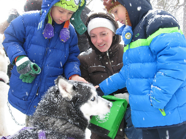 Batavia residents Matisse Contreras (from left), 6, Bridget Contreras and Thomas Contreras, 6, pet Siberian Husky Sasha on Saturday outside the Hickory Knolls Discovery Center in St. Charles. Sasha is part of the Free Spirit Siberian Rescue Sled Demo Team.
