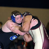 Jeff Krage – For Shaw Media<br /> Geneva's Jak Anderson (left) wrestles with Elgin's Abel Barraza in a 220-pound match during Saturday's IHSA class 3A regional at South Elgin High School.<br /> South Elgin 2/8/14