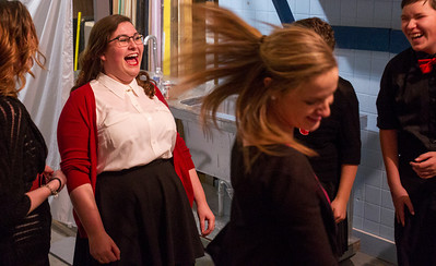 "Kyle Grillot - kgrillot@shawmedia.com   Crystal Lake Central sophomore Macky Leech (left) warms up with the improve group before the start of the Valentines Day Improv show ""An Improv-er's Guide to Love and Heartbreak,"" Friday in Crystal Lake."