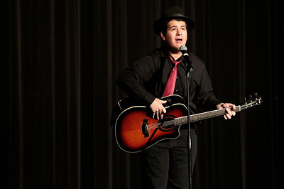 "Kyle Grillot - kgrillot@shawmedia.com   Crystal Lake Central senior J.D. Fuerholzer performs during the Valentines Day Improv show ""An Improv-er's Guide to Love and Heartbreak,"" Friday in Crystal Lake."