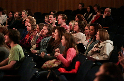 "Kyle Grillot - kgrillot@shawmedia.com   The crowd reacts during the Valentines Day Improv show ""An Improv-er's Guide to Love and Heartbreak,"" Friday in Crystal Lake."