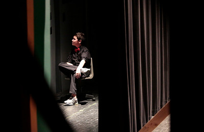 "Kyle Grillot - kgrillot@shawmedia.com   Priarie Ridge freshman Nick Desbiens waits backstage while other perform during the Valentines Day Improv show ""An Improv-er's Guide to Love and Heartbreak,"" Friday in Crystal Lake."