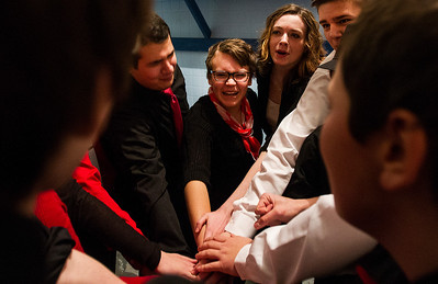 "Kyle Grillot - kgrillot@shawmedia.com   The Crystal Lake Central improve group comes together before the start of the Valentines Day Improv show ""An Improv-er's Guide to Love and Heartbreak,"" Friday in Crystal Lake."