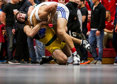 Kyle Grillot - kgrillot@shawmedia.com   Crystal Lake South senior Nick Gil wrestles Wheeling sophomore Tulga Zuunbayan during the 138-pound championship match of the class 3A Individual Sectional at Barrington High School Saturday, February 15, 2014. Gil won the match, 5-3.