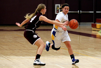 Sarah Nader - snader@shawmedia.com Marengo's Kassidy Grimscheid (left) guards Johnsburgs' Maddie Himpelmann while she brings the ball towards the basket during the second quarter at the ISHA Class 3A  Regional game in Richmond Tuesday, February 18, 2014.