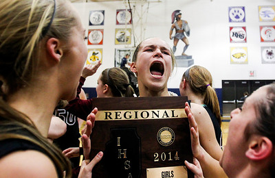 Sarah Nader- snader@shawmedia.com Prairie Ridge's Sarah Le Beau celebrates after Prairie Ridge won the Class 4A Cary-Grove Regional final against Cary-Grove Friday, February 21, 2014. Prairie Ridge won, 46-42.