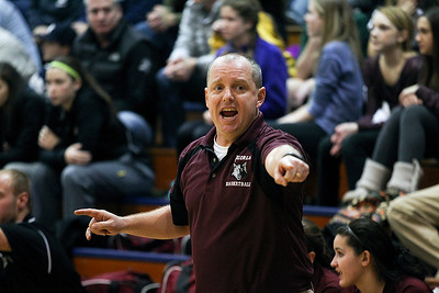 Sarah Nader- snader@shawmedia.com Prairie Ridge's girls basketball head coach Rob Baker watches Friday's Class 4A Cary-Grove Regional final against Cary-Grove Friday, February 21, 2014. Prairie Ridge won, 46-42.