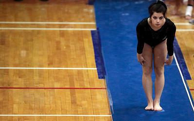 Kyle Grillot - kgrillot@shawmedia.com  St. Charles North Raquel Favia prepares to compete in the vault event of the IHSA Girls Gymnastics State Meet Friday in Palatine.