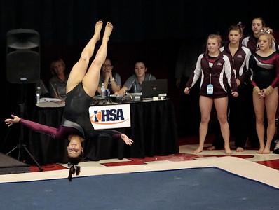 Kyle Grillot - kgrillot@shawmedia.com  Prairie Ridge sophomore Kendall Rumford competes in the floor event of the IHSA Girls Gymnastics State Meet Friday in Palatine.