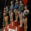 Geneva's Claire Rose Ginsberg takes first place in all around at The Girls Gymnastics State Meet at Palatine High School in Palatine, IL on Saturday, February 22, 2014 (Sean King for Shaw Media)