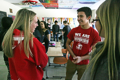 H. Rick Bamman - hbamman@shawmedia.com  Crystal Lake Central students from left Olivia McConnell, Sabas Macedo, and Nicole Agignoae (cq) work in a small group as they descuss a persuasive techniques during teacher Shannon Levitt's AVID class. The new course to D-155 aims to improve student performance through organizational skills, tutoring and time management.
